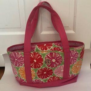 Lilly Pulitzer green pink grapefruit beach bag